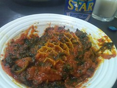Efo riro with mixed meat at Lagos Island