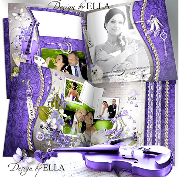Elegant wedding photobook PSD – purple wedding