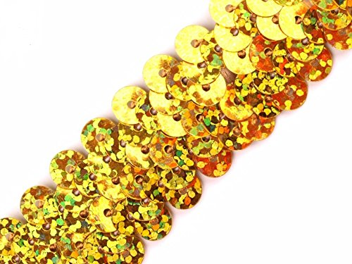 Paillettenborte hologramm 20mm, gold