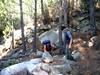 Départ du Chemin d'exploitation du Carciara en RG de la Figa Bona :  30m sous le Chemin de Paliri dans le ruisseau de Peru (cairns)