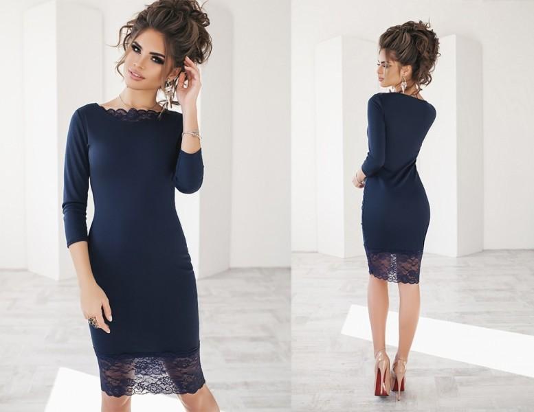 ... Облегающее однотонное женское трикотажное платье с кружевной окантовкой  темно-синее   by arrkareeta 703cf55034a