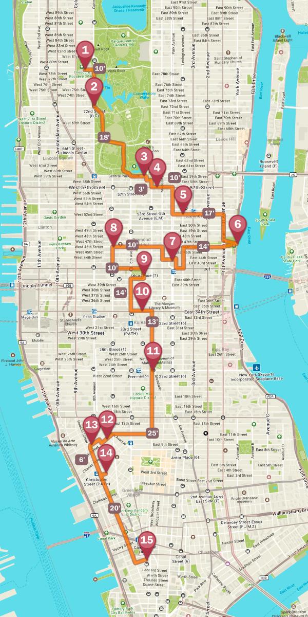 Mapa de la ruta en bicicleta por Nueva York
