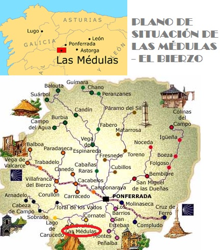 Mapa de situación de Las Médulas (El Bierzo, León)