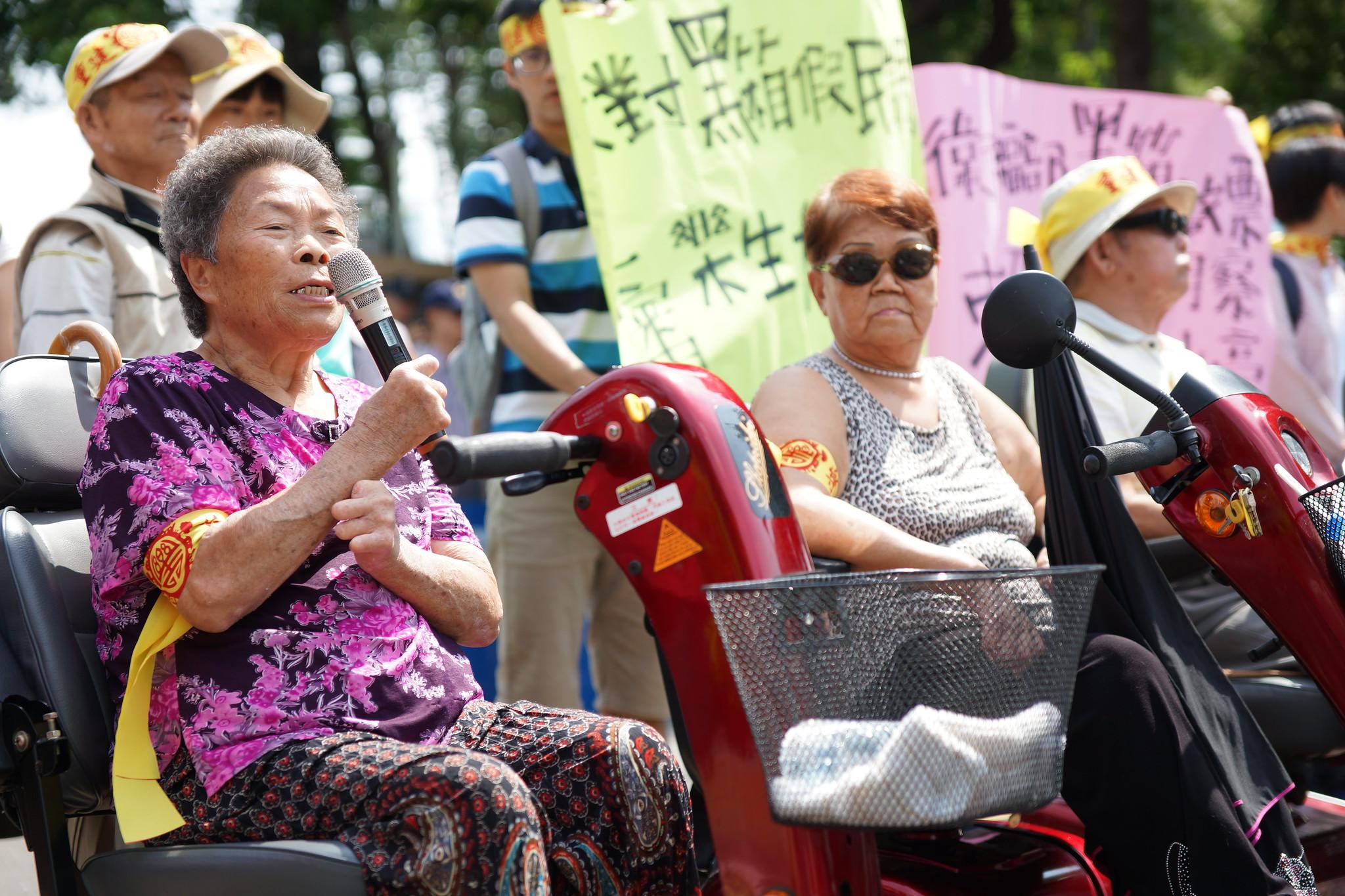 樂生院民再上街呼籲重審「大平台案」。(攝影:王顥中)