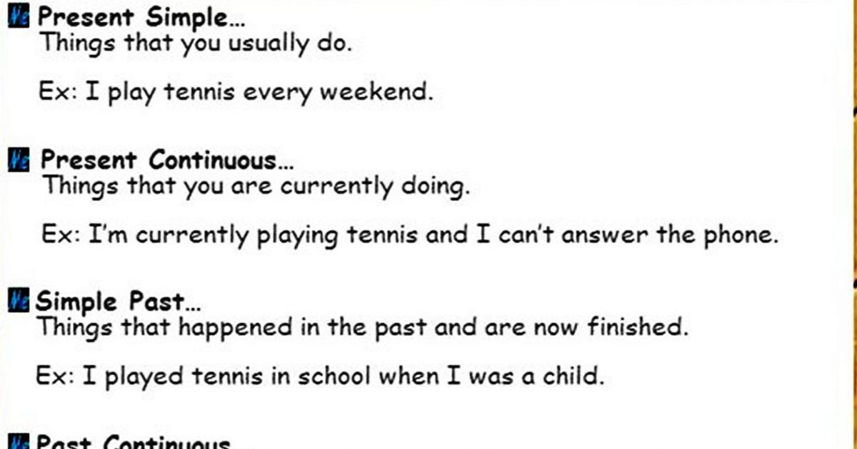 The English Tenses Summary to Make English Easier 5