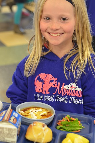 A student from Monforton Elementary in Bozeman, Mont., enjoying a school lunch