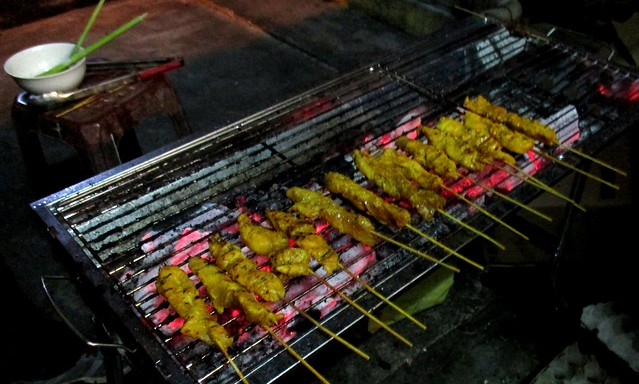 Colourful Cafe satay on the charcoal grill
