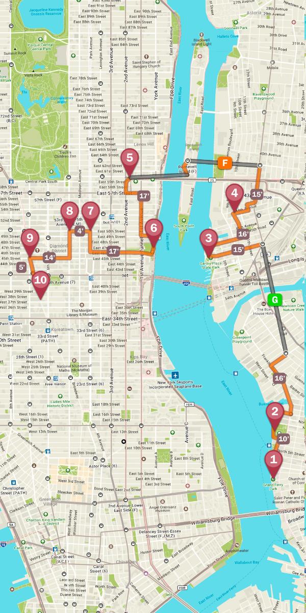 Mapa de la ruta nocturna por Nueva York