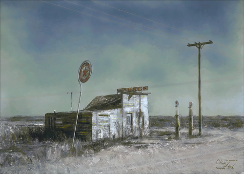 Image of an abandoned Texaco gas station from 1937