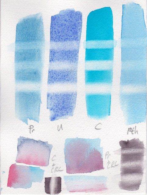 Piece of paper with watercolour tests