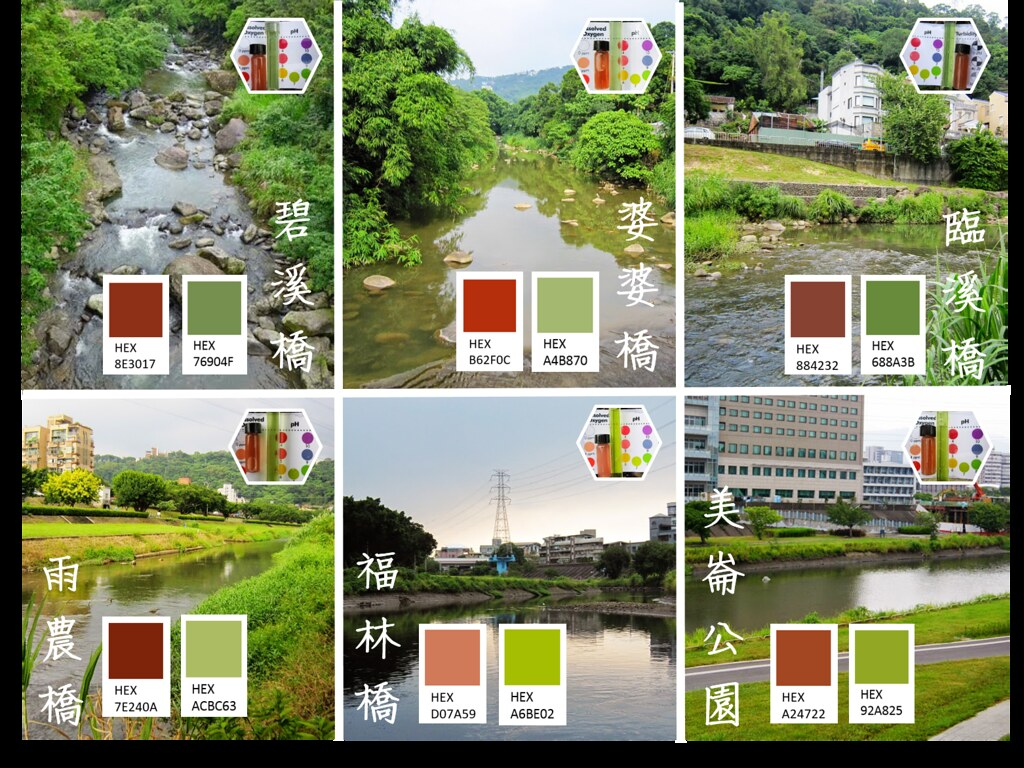 5_美麗的色階,來自溪流上中下游不同點位的水質狀況(圖片來源:人禾)