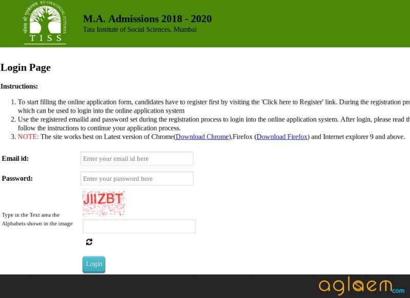 TISSNET 2018 Application Form (Last Date Extended)   Login Here