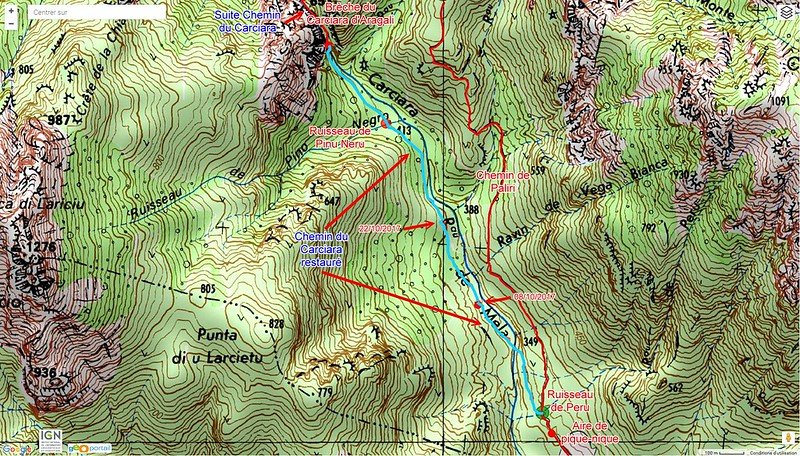 Carte IGN du secteur Figa Bona - Carciara en aval de la brèche du Carciara d'Aragali avec les tracés des différents chemins