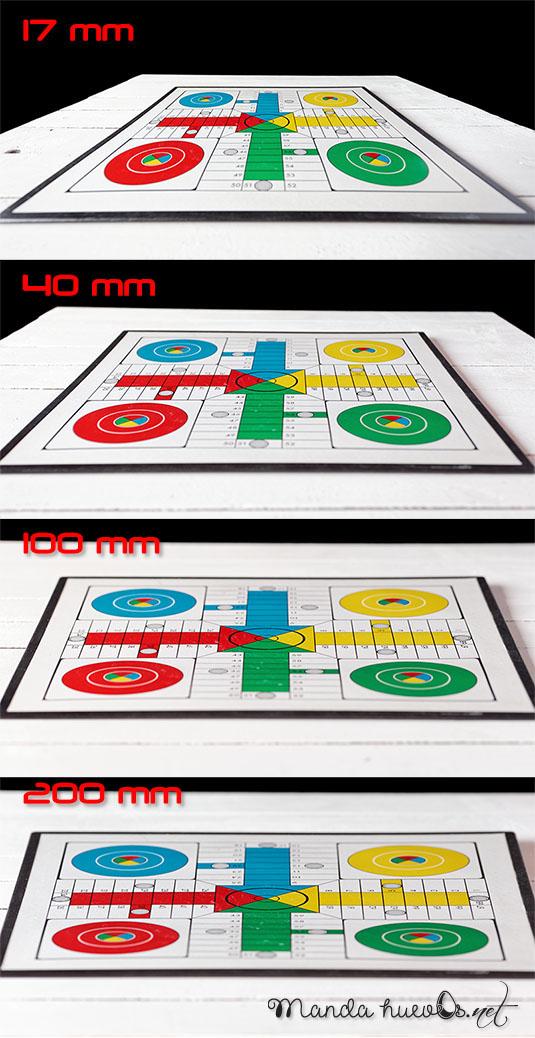 Fotos del mismo tablero realizadas con las cuatro focales intentando mantener el mismo encuadre