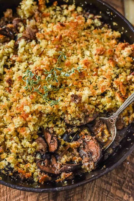 Baked Mushrooms with Parmesan Breadcrumbs