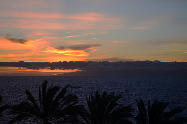 Sunset with La Gomera and El Hierro from Costa Adeje, Tenerife
