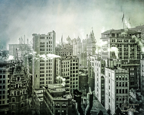 Image of Manhattan's Business District in NYC cc 1900