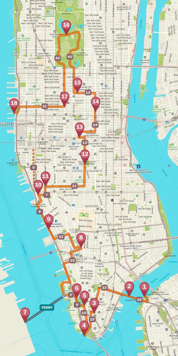 Mapa de Nueva York por los imprescindibles de la ciudad para recorrerla en 24