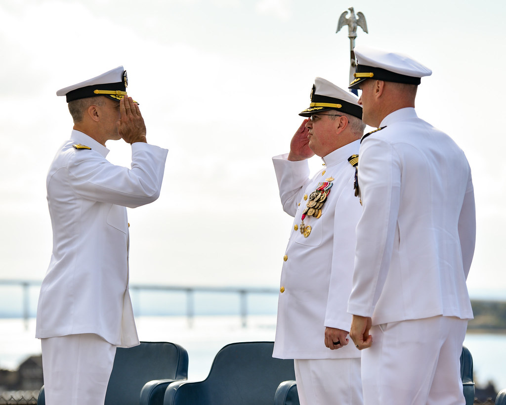 Capt. William Sherrod relieved Capt. Darren Glaser as the commanding officer of the San Antonio-class amphibious transport dock ship USS Somerset (LPD 25) during a change of command ceremony aboard the USS Midway museum in San Diego harbor, Nov. 2.