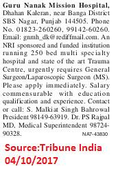 Guru Nanak Mission Hospital,General Surgeon,SBS Nagar Punjab.