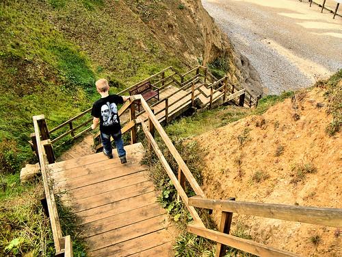 Walking down steps to the West Runton beach