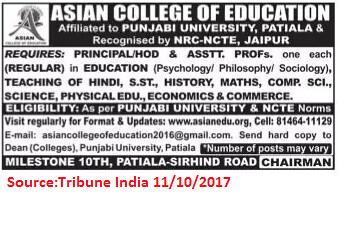 Asian College of Education,Principal,HOD,Patiala.