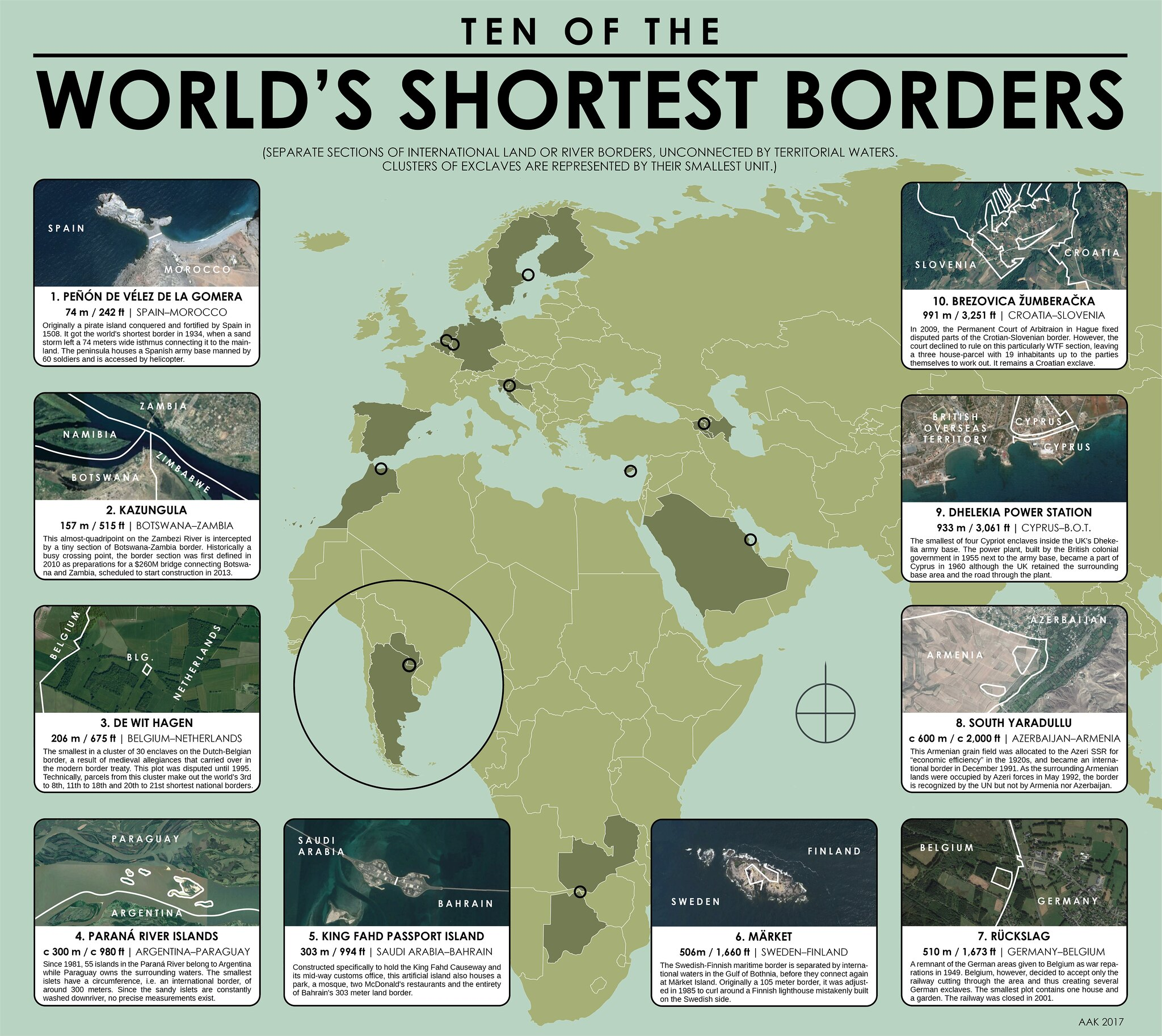 Gorgeous map of ten of the world's shortest borders / Boing