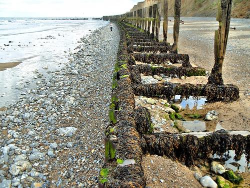 Sea defences on West Runton beach