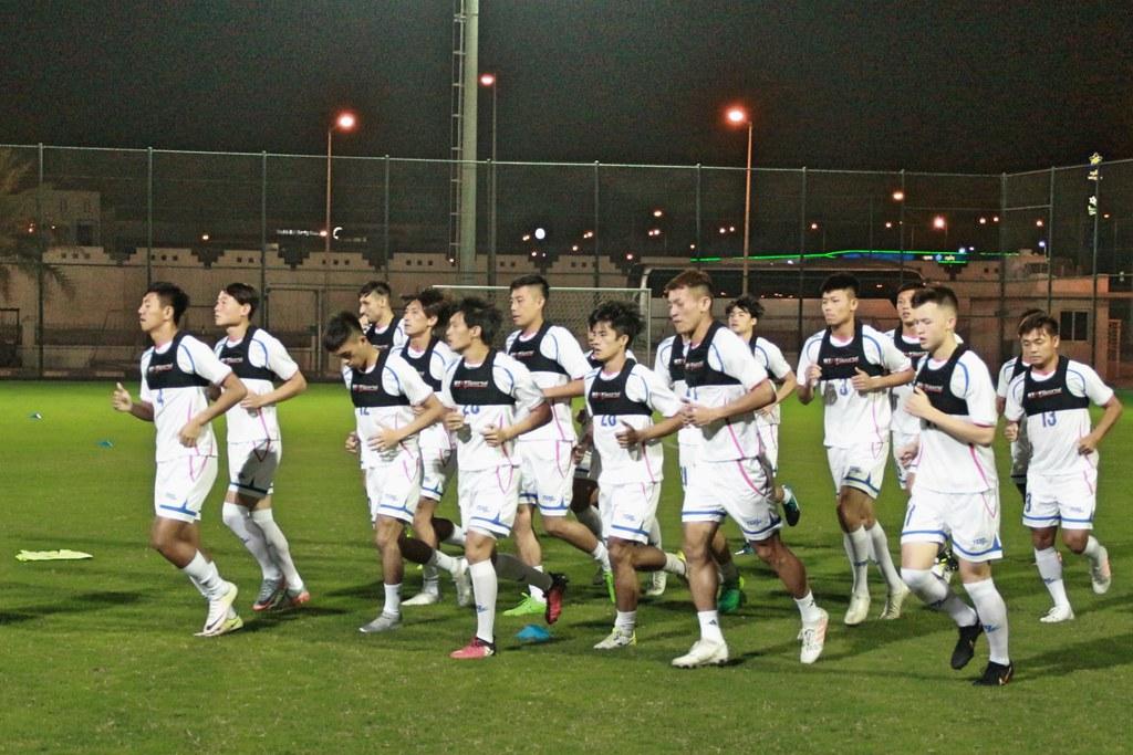 中華男足抵達卡達後首度練球。(足協提供)