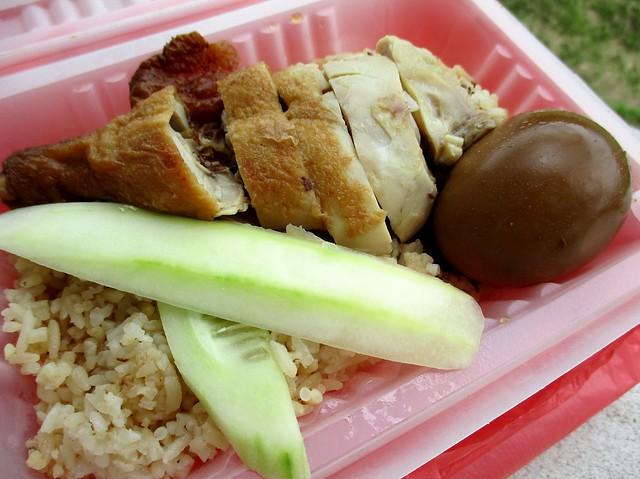 Chopsticks chicken drumstick rice with stewed egg