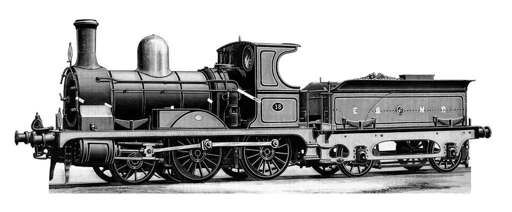 Eastern & Midland Railway (UK) - EMR 2-4-0 steam locomotiv ...