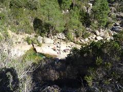 Remontée au Chemin du Carciara : vue du groupe encore aux vasques de la confluence Carciara/Peralzone