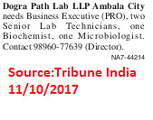 Dogra Path Lab LLP,Business Executive,Biochemist,Ambala.
