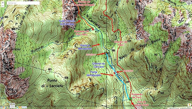 Carte IGN de la Figa Bona et du Carciara avec les chemins de Paliri et du Carciara en cours de restauration