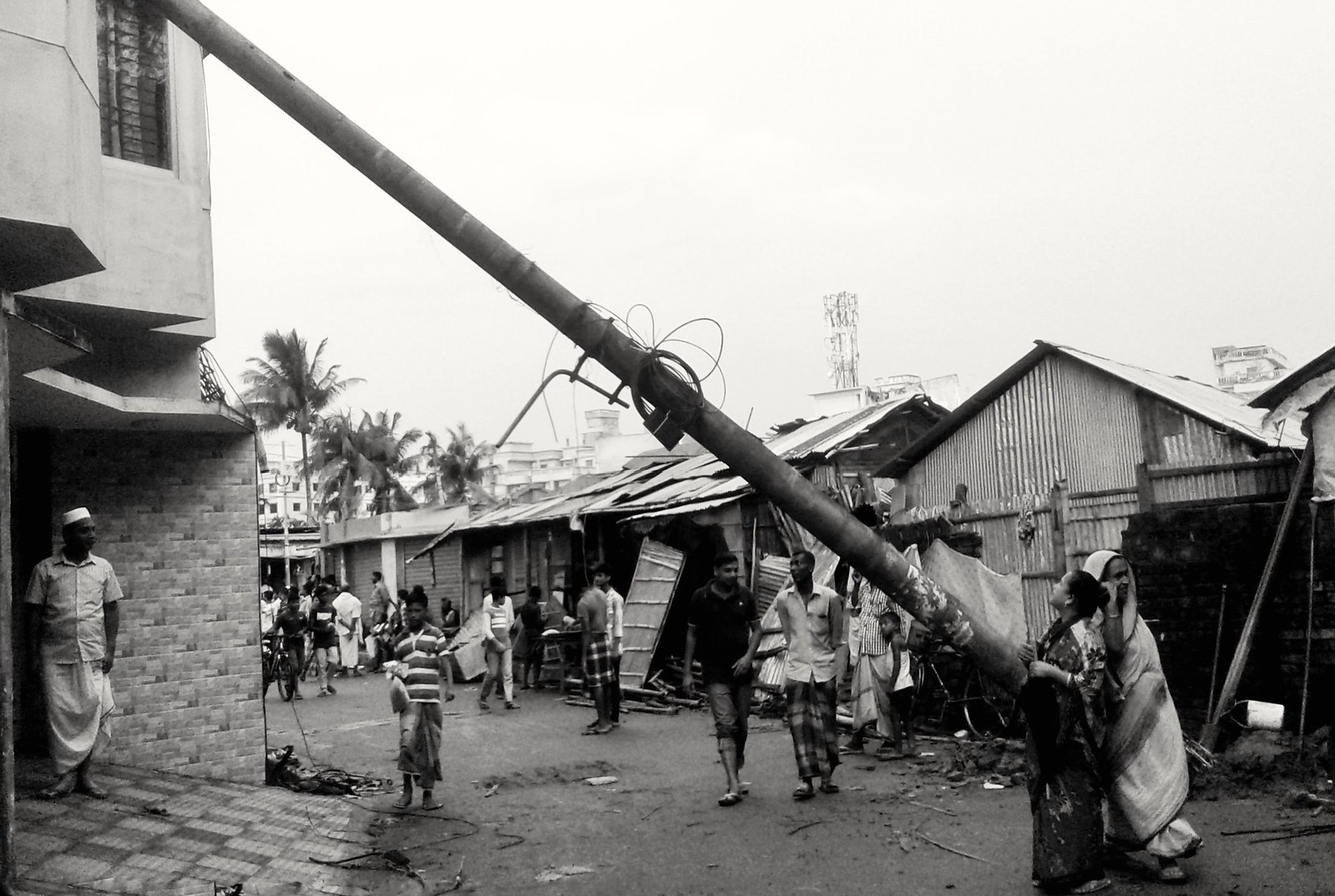 A Electric pillar has been fallen Down to the building after q furious Tornado,People around bay of Bengal Have to face it every year, | by nayeemsiddiquee