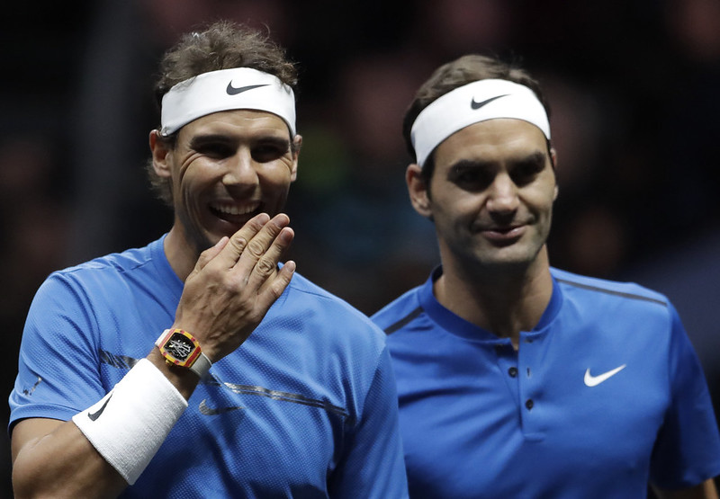 Rafael Nadal(圖左)和Roger Federer去年於拉沃盃搭檔雙打。(達志影像)