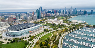 Aerial panorama: Soldier Field, The Field Museum, Shedd Aquarium and Skyline of Chicago | by marcoverch