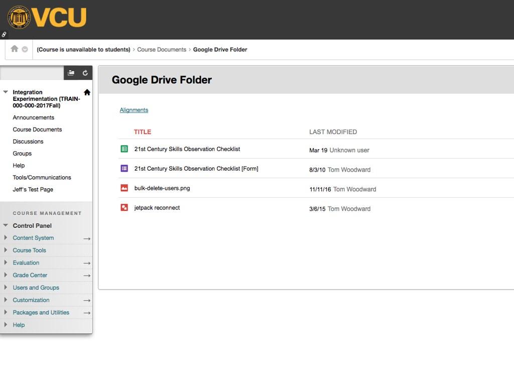 Google drive folder embedded in blackboard | Tom Woodward | Flickr