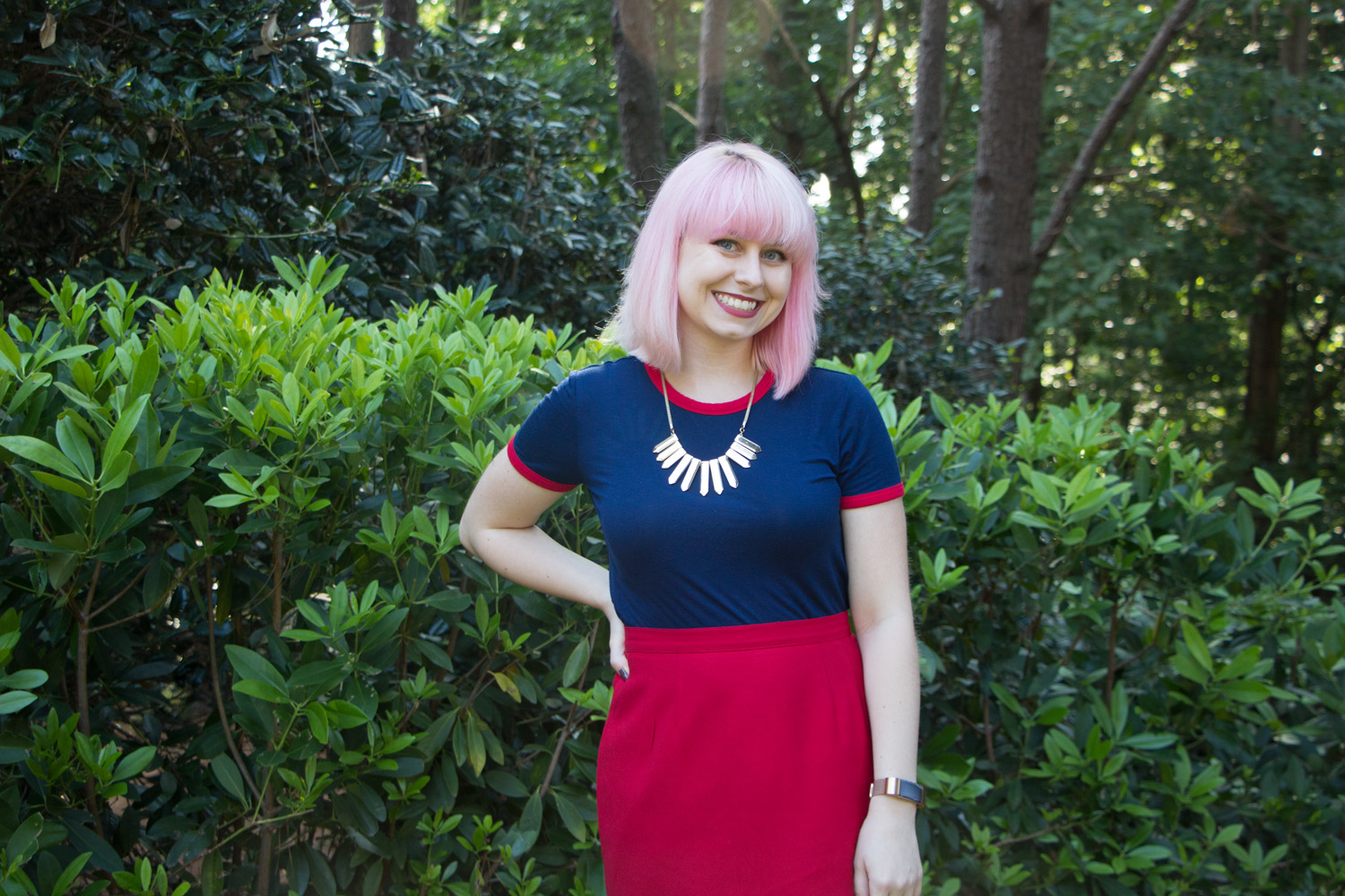 Light Pink Hair, Blue Ringer Tee and a Red Skirt