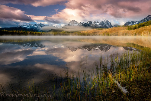 Chuck Knowles - Dramatic sunrise over Little Redfish Lake Idaho | by The Knowles Gallery