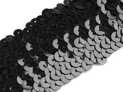 Paillettenborte elastisch 45mm, schwarz
