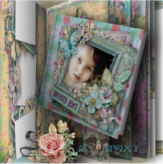 Template of photobook for Photoshop in PSD – merry girl