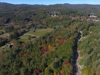 aerial photo of a forested parcel in Hancock, NH