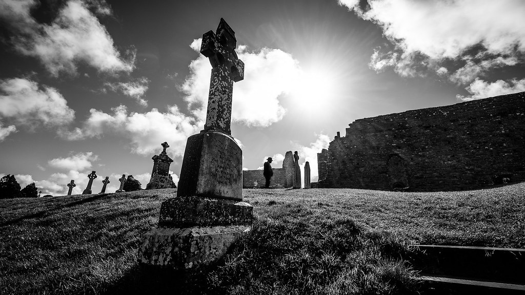 Clonmacnoise monastery ireland black and white street photography by giuseppe milo www