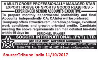 Soccer International Pvt LTD,Accounts Executive,Jalandhar.
