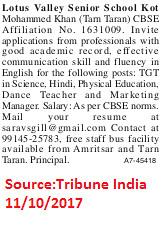 Lotus Valley Senior School,TGT,Kot Mohammed Khan,Tarn Taran.