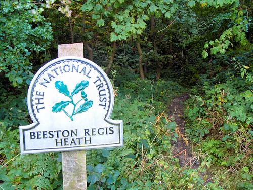National Trust sign for Beeston Regis Heath