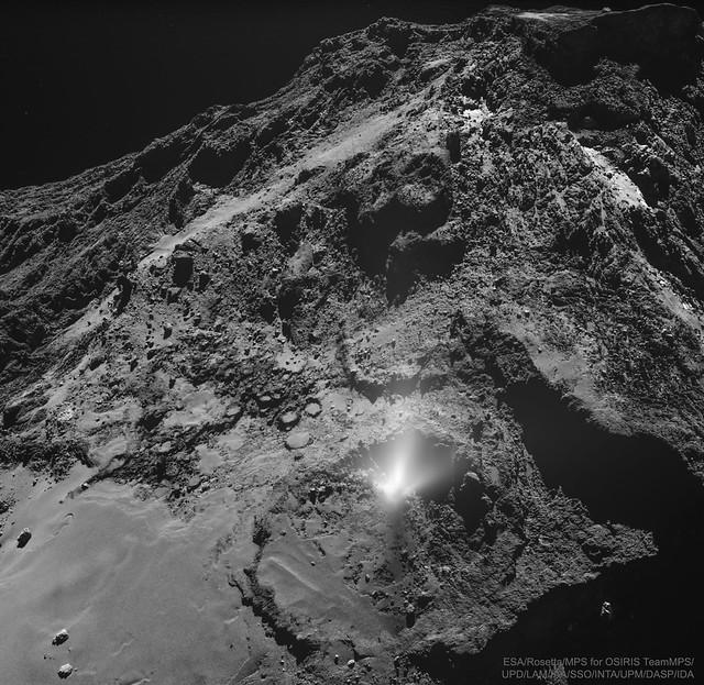 VCSE - A 67P/Csurjumov-Geraszimenko (IAU-nevén Churyumov-Gerasimenko) üstökös felszínén megfigyelt gejzír - ESA, Rosetta