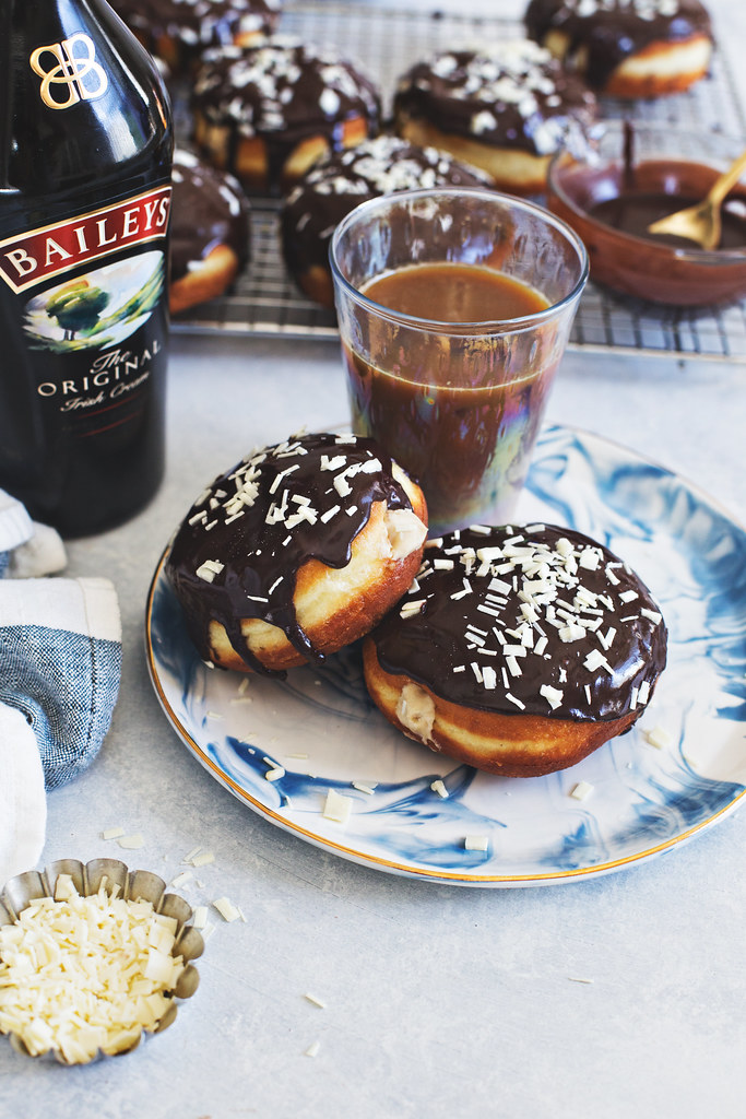 Baileys Coffee Custard Doughnuts