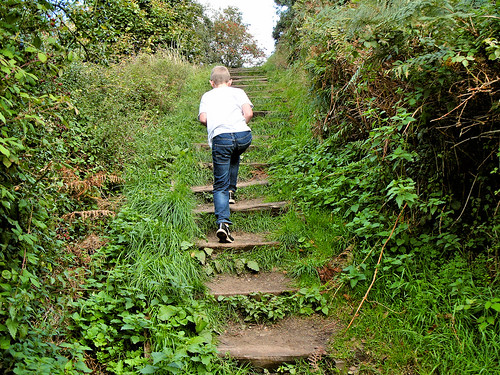 Climbing the steps to Incleborough Hill